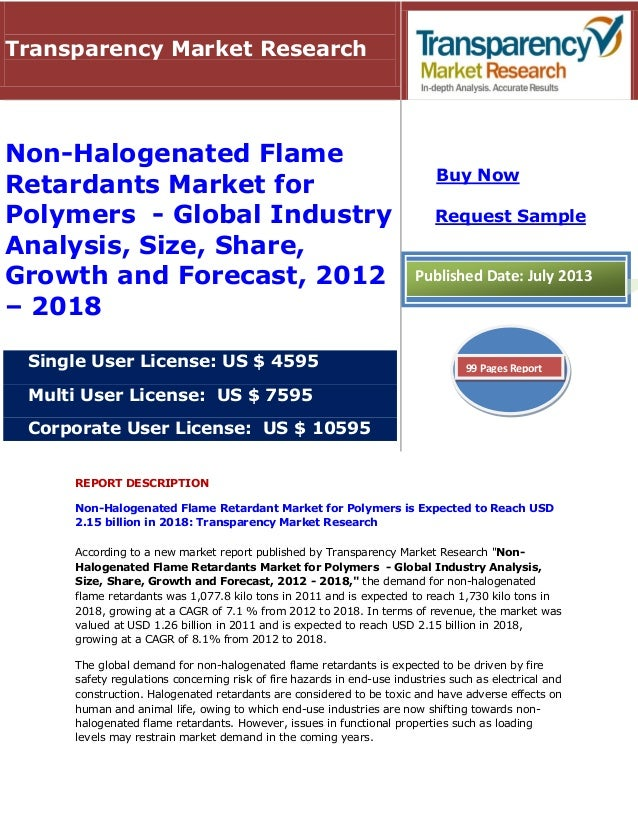 REPORT DESCRIPTION Non-Halogenated Flame Retardant Market for Polymers is Expected to Reach USD 2.15 billion in 2018: Tran...