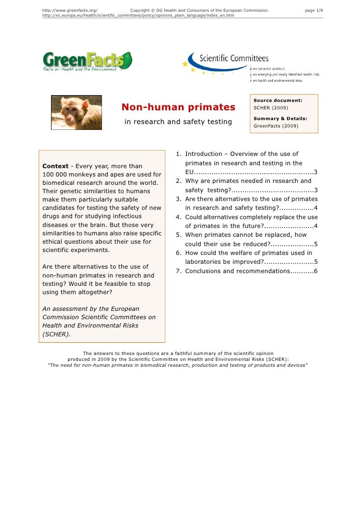 Non-human primates in research and safety testing