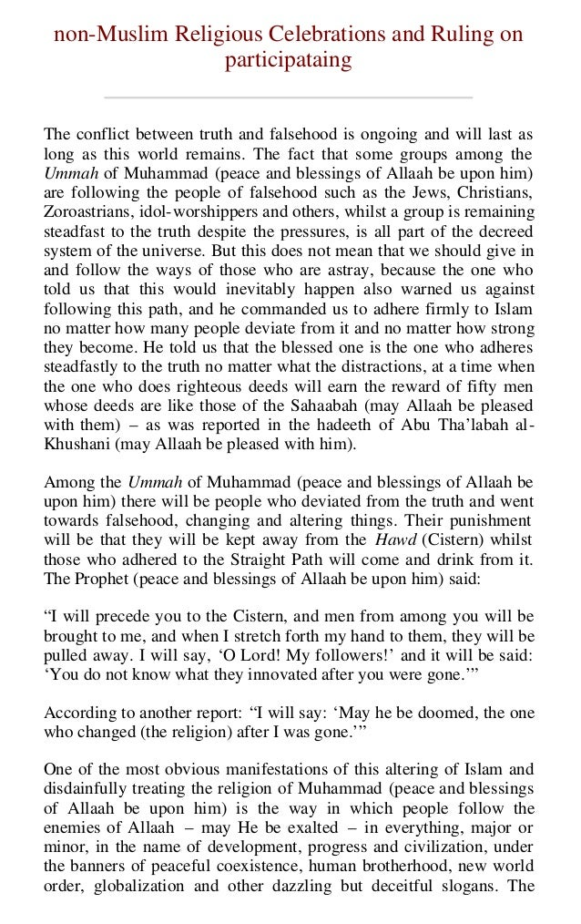 non-Muslim Religious Celebrataons and Ruling on participataing  Page 1 of 34  non-Muslim Religious Celebrations and Ruling...