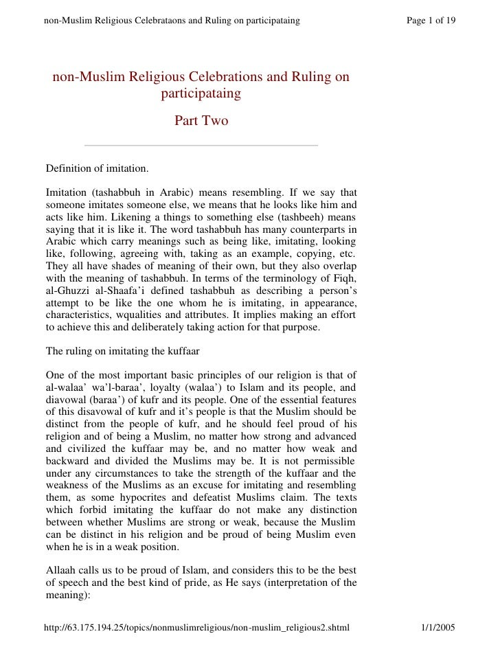 non-Muslim Religious Celebrations and Ruling on                  participataing                              Part Two   De...