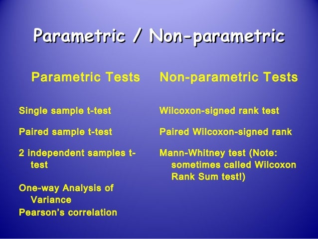 parametric and nonparametric statistics essay Introduction to nonparametric methods research one needs to use nonparametric rather than parametric statistics nonparametric statistical and essay save.