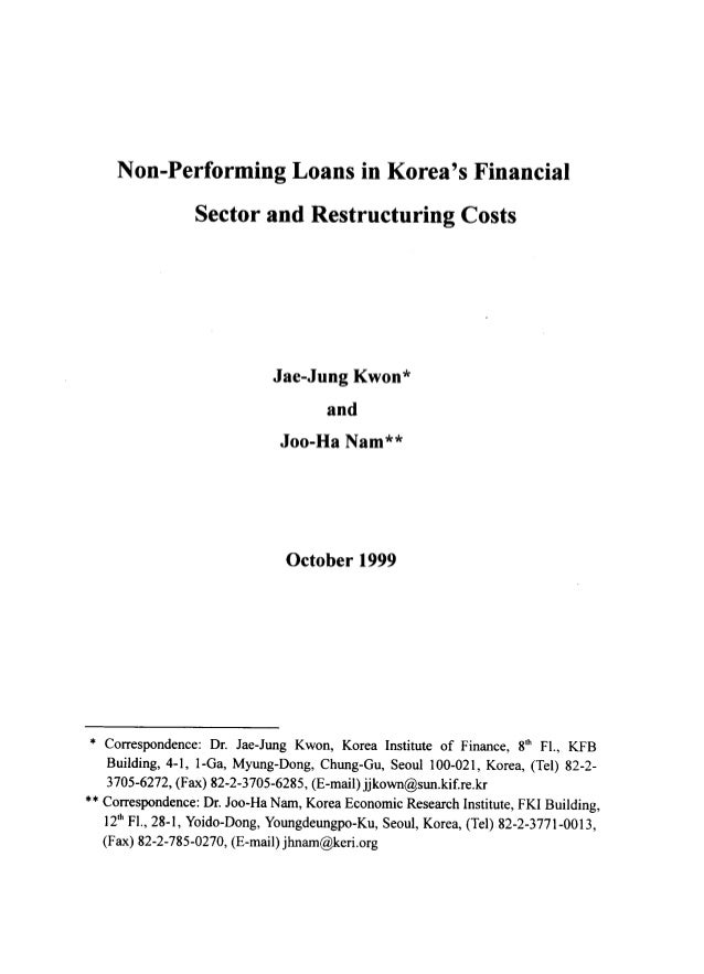 Non performing loans in korea's financial sector and restructering costs