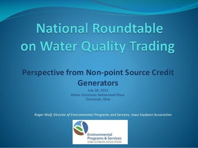 Non Point Source Credit Generators