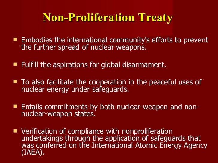 nuclear proliferation Proliferation of nuclear wearpons / 3 to summarize the point: the most difficult technical barrier for the production of nuclear weapons is access to the required nuclear material.