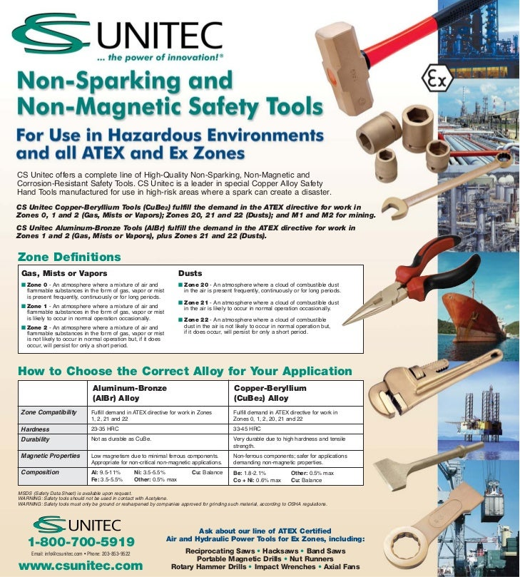 CS Unitec offers a complete line of High-Quality Non-Sparking, Non-Magnetic andCorrosion-Resistant Safety Tools. CS Unitec...