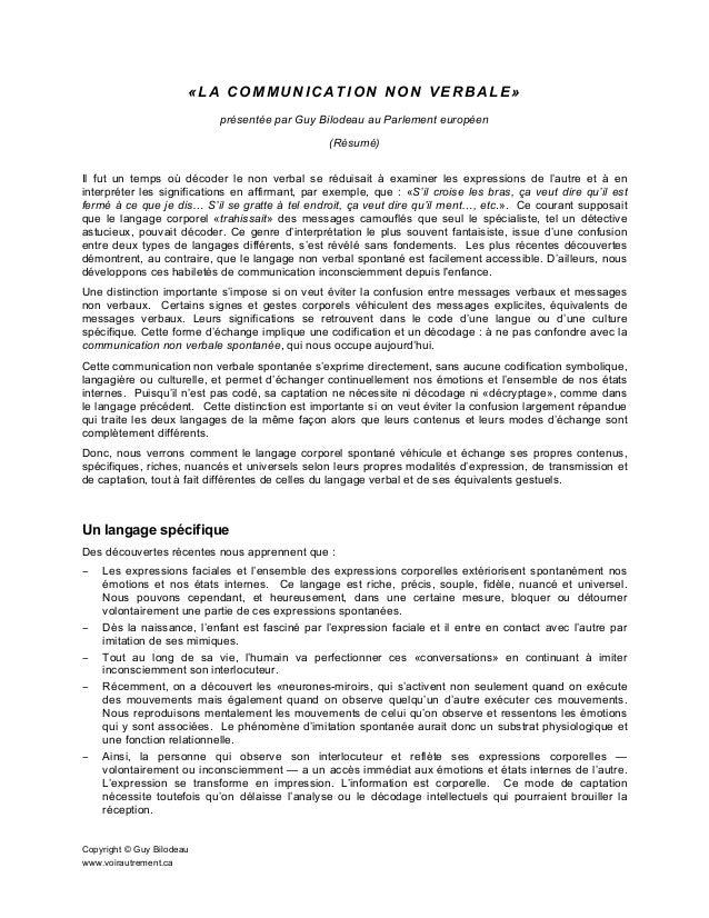 «LA COMMUNICATION NON VERBALE» présentée par Guy Bilodeau au Parlement européen (Résumé) Il fut un temps où décoder le non...