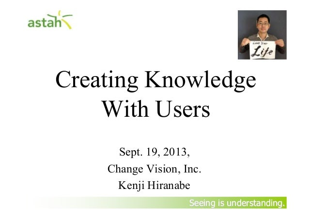 Seeing is understanding.Seeing is understanding. Creating Knowledge With Users Sept. 19, 2013, Change Vision, Inc. Kenji H...