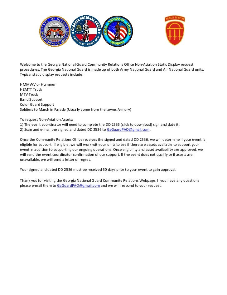 Non aviation static display request instructions