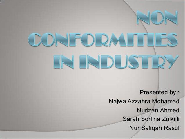 Non Conformities in Industry