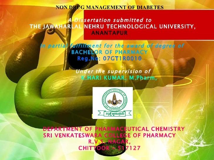 Non drug management of diabetesPPT