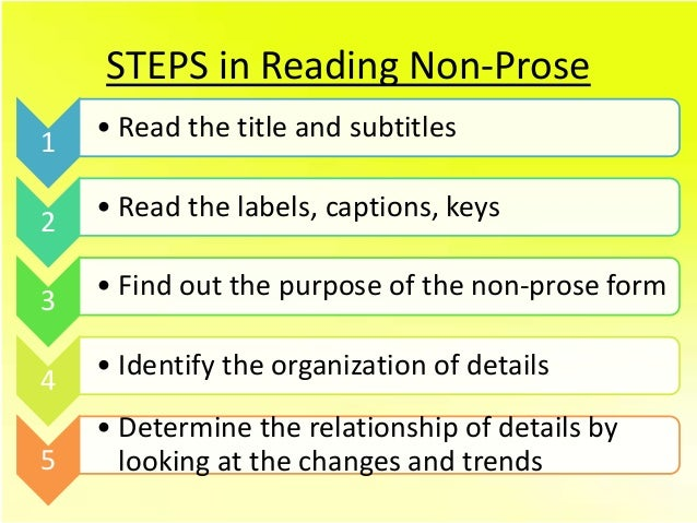 all about non prose reading What is non prose reading 1 following 2 answers 2 non-prose reading materials include all of the following except: poetry or prose.