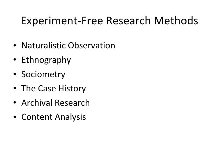 research methods experiments In experimental research, researchers use controllable variables to see if manipulation of these variables has an effect on the experiment's outcome additionally, subjects of the experimental.