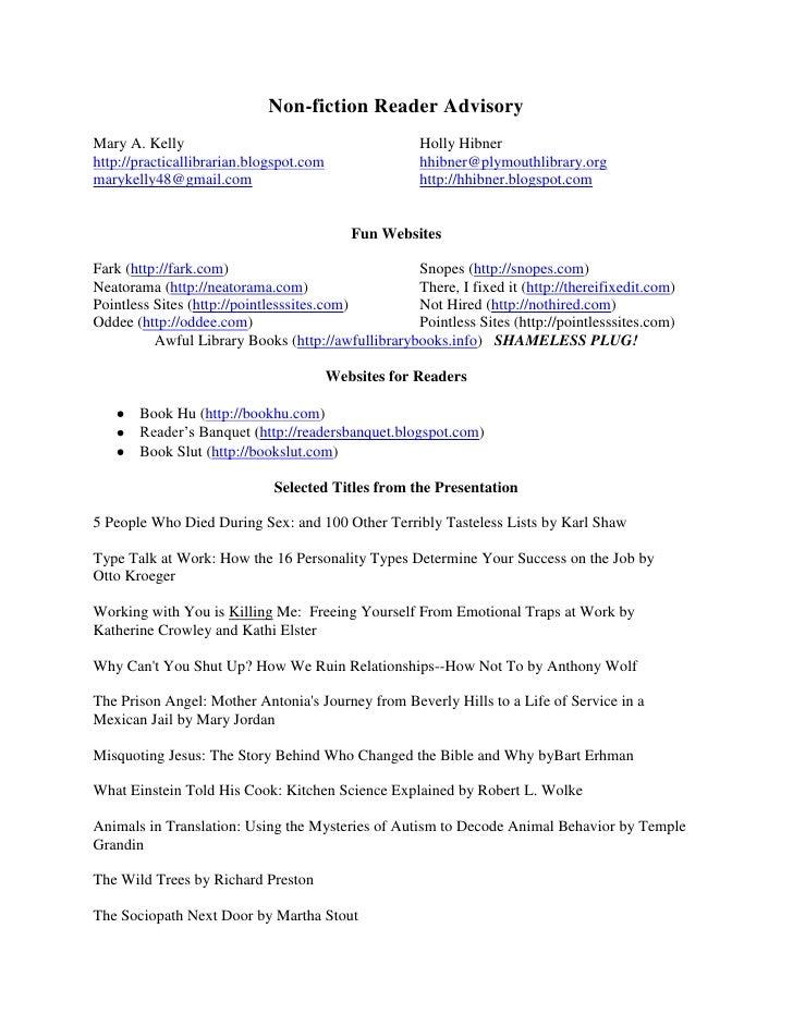 Non Fiction Reader Advisory Information