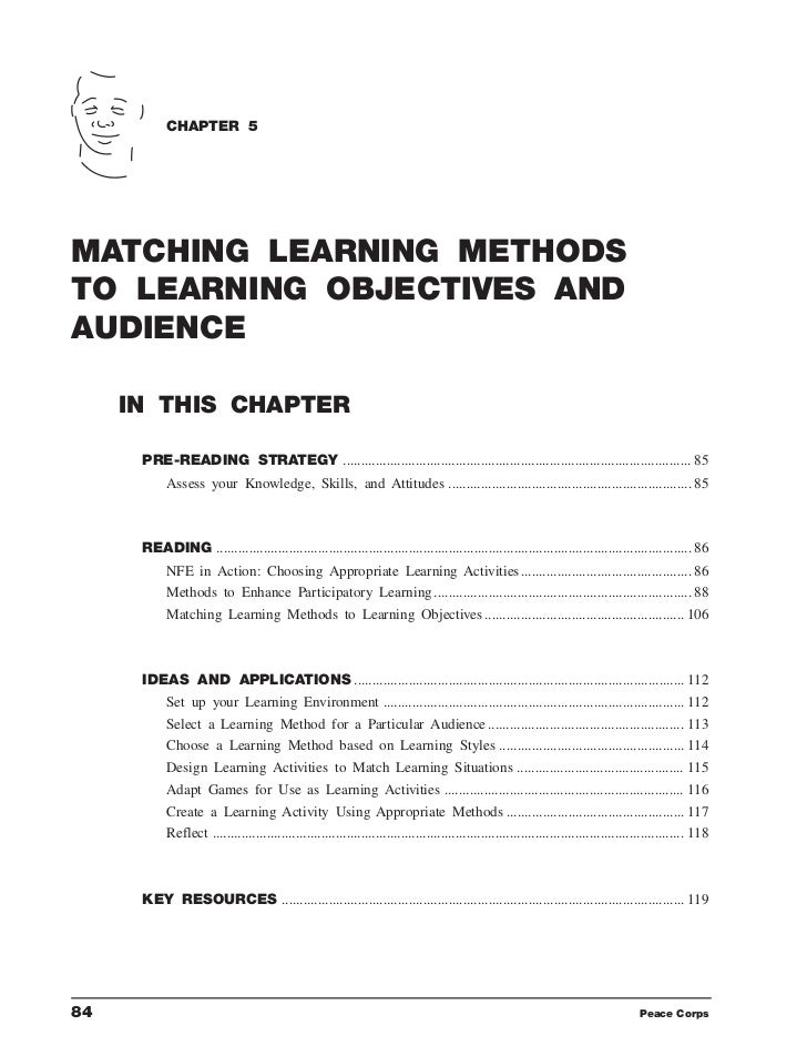 CHAPTER 5MATCHING LEARNING METHODSTO LEARNING OBJECTIVES ANDAUDIENCE     IN THIS CHAPTER      PRE-READING STRATEGY ..........