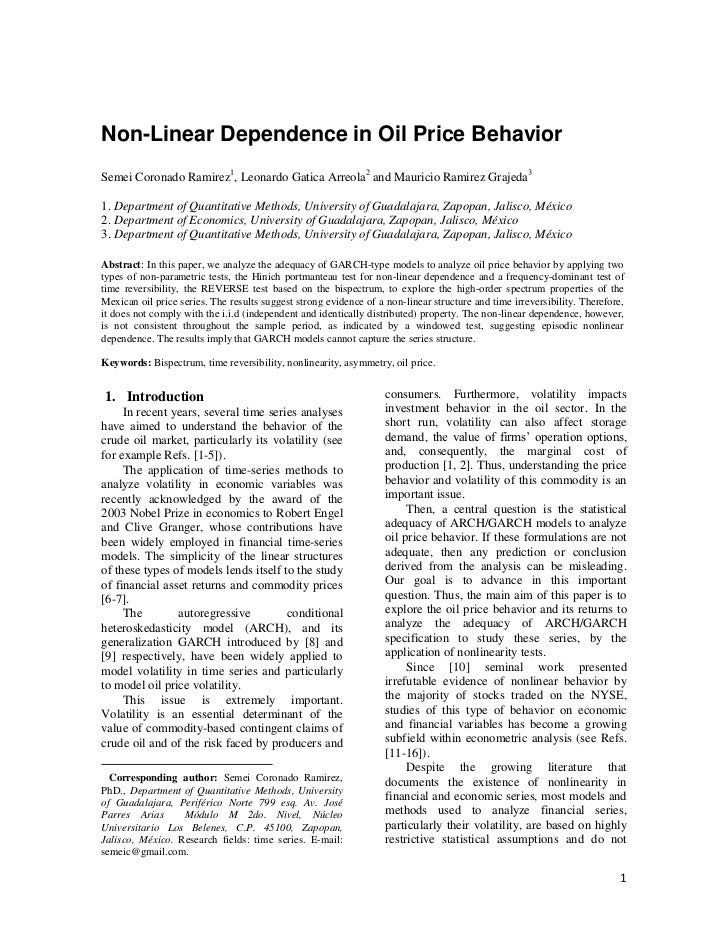 Non-Linear Dependence in Oil Price BehaviorSemei Coronado Ramirez1, Leonardo Gatica Arreola2 and Mauricio Ramirez Grajeda3...