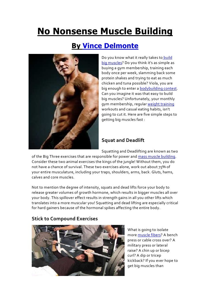 No Nonsense Muscle Building                       By Vince Delmonte                                         Do you know wh...