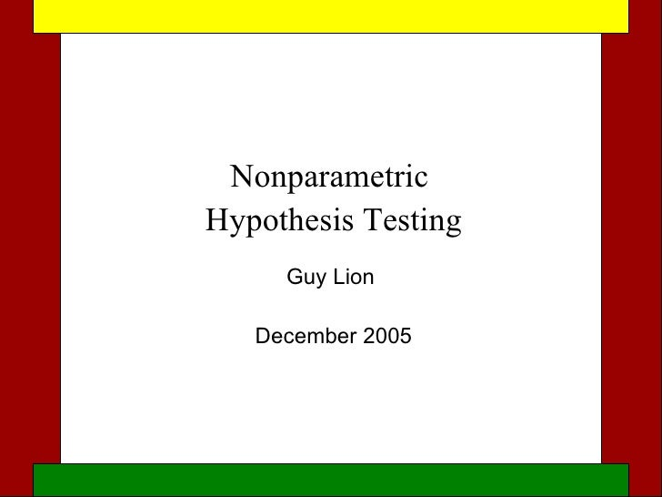 Nonparametric hypothesis testing methods