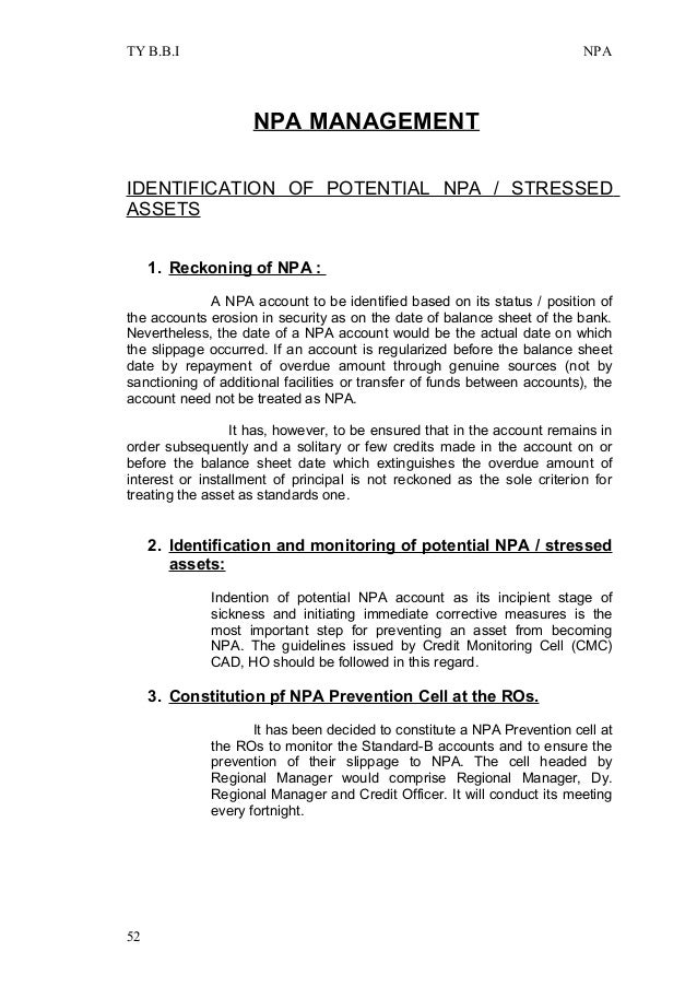 thesis on npa management in india