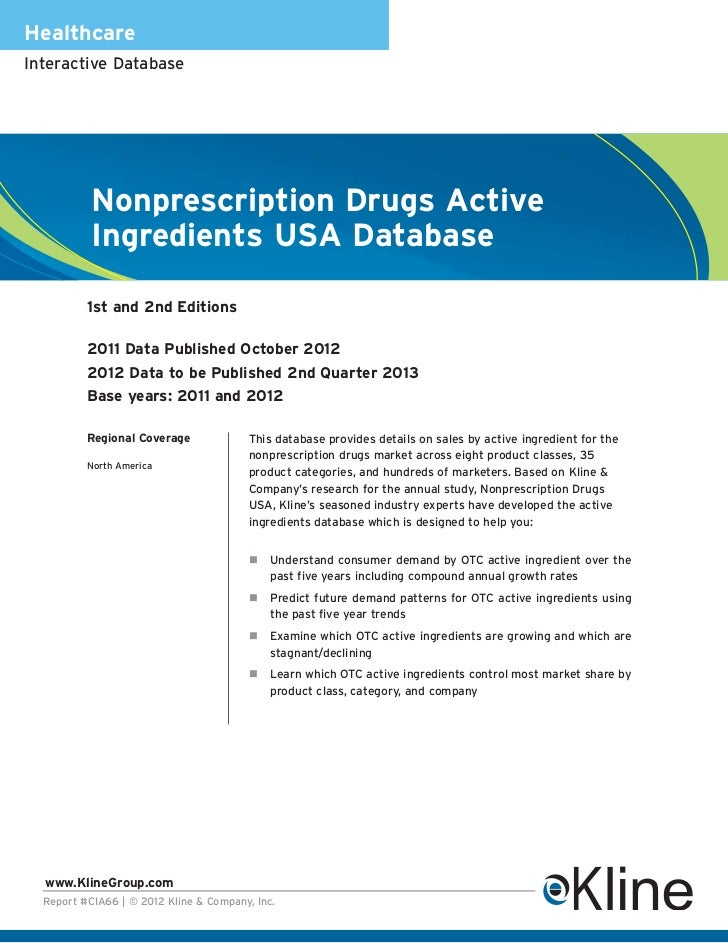 HealthcareInteractive Database           Nonprescription Drugs Active           Ingredients USA Database          1st and ...