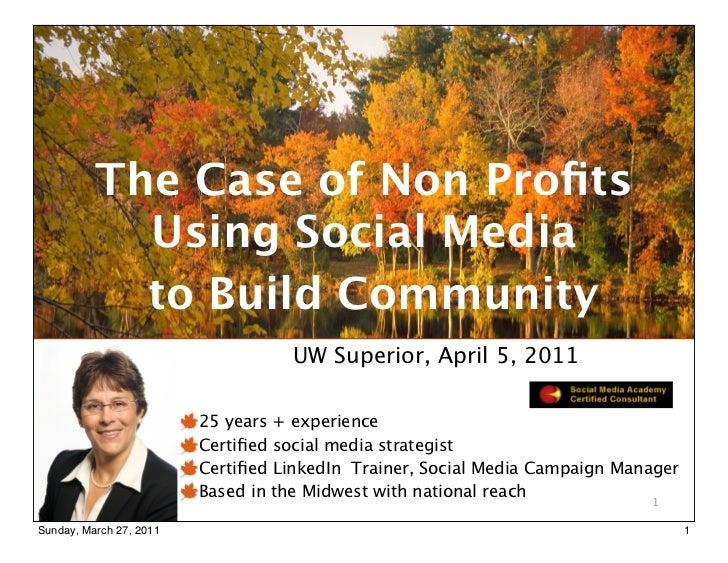 Non Profit Community Building Using Social Media