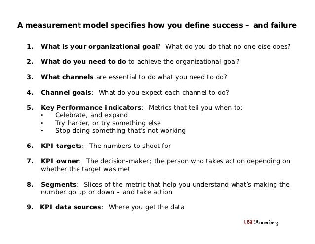 A measurement model specifies how you define success – and failure  1.  1    What is your organizational goal? What do you...