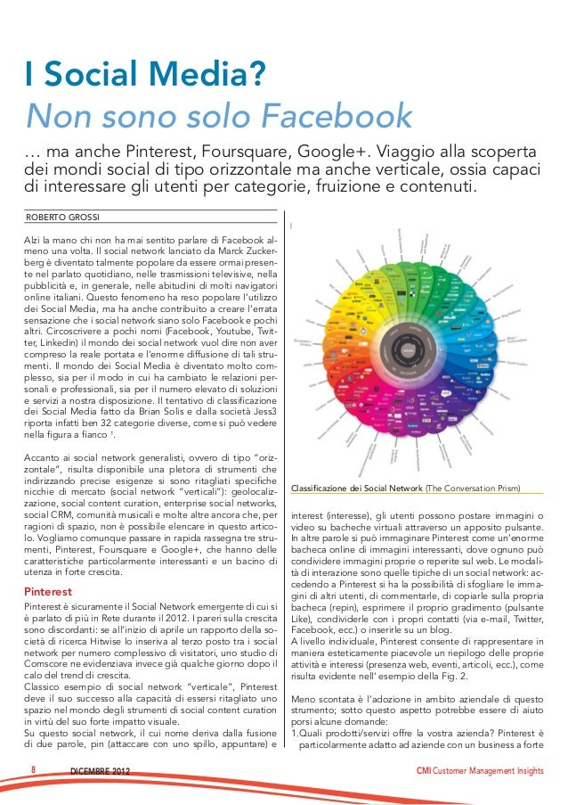 DICEMBRE 2012 CMI Customer Management Insights8… ma anche Pinterest, Foursquare, Google+. Viaggio alla scopertadei mondi s...