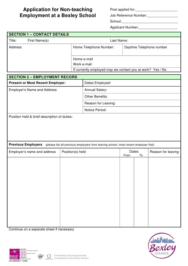 Non teaching staff application form