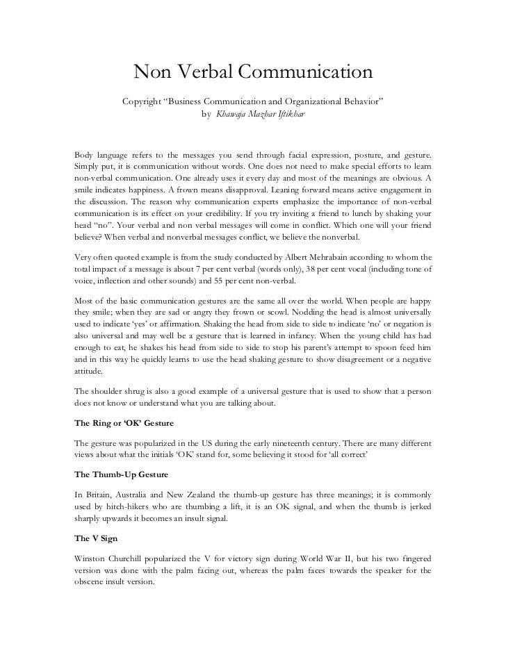 "Non Verbal Communication<br />Copyright ""Business Communication and Organizational Behavior"" by  Khawaja Mazhar Iftikhar<b..."