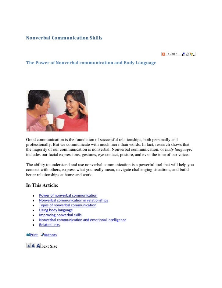 Nonverbal Communication Skills<br />The Power of Nonverbal communication and Body Language<br />right0<br />Good communica...