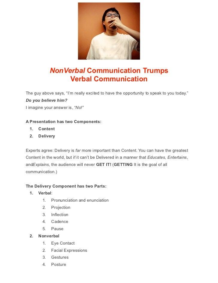 Nonverbal Communication Trumps Verbal Communication