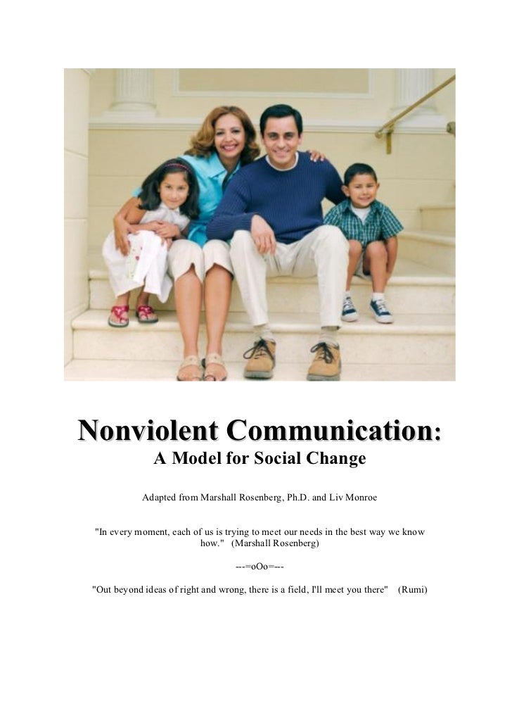 Nonviolent Communication:                A Model for Social Change             Adapted from Marshall Rosenberg, Ph.D. and ...