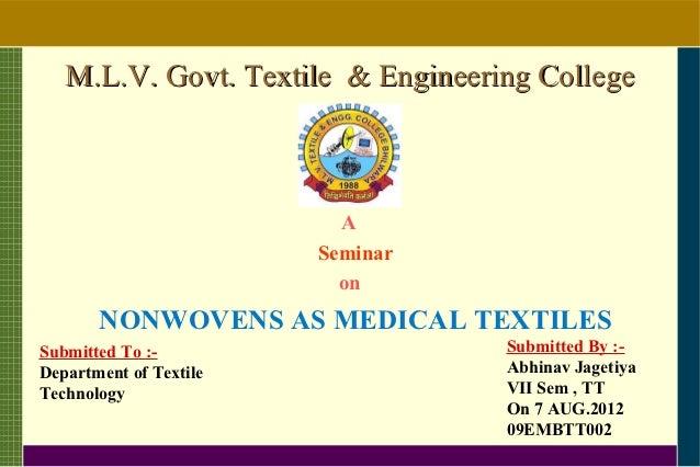 M.L.V. Govt. Textile & Engineering College                          A                        Seminar                      ...