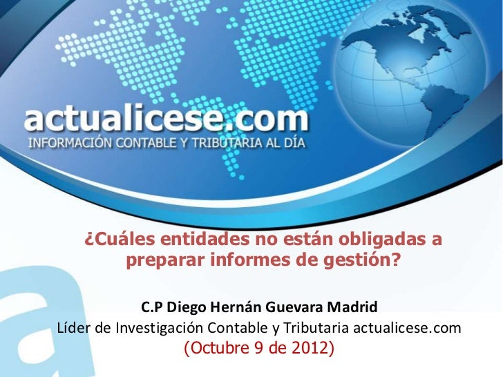 No obligados a informe de gestion