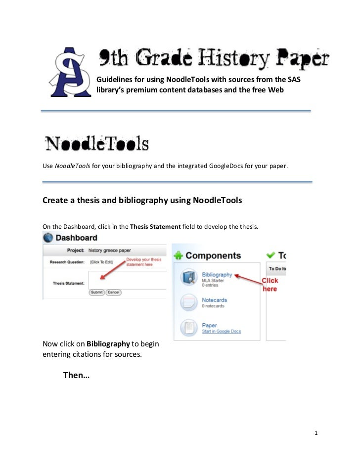 Guidelines for using NoodleTools with sources from the SAS                             library's premi...