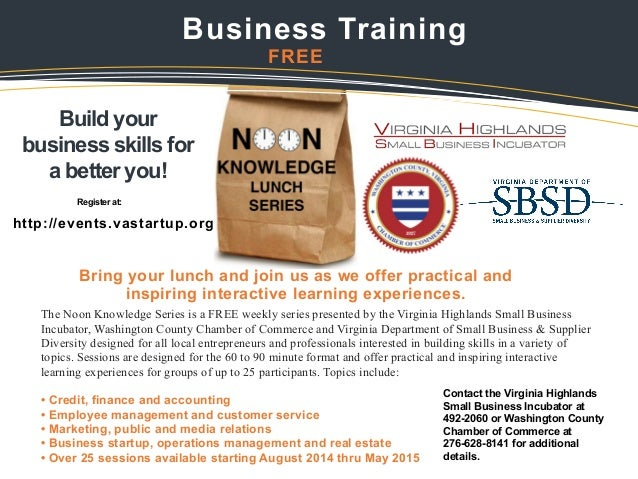 Washington County, Virginia Noon Knowledge Business Training Series 2014-2015