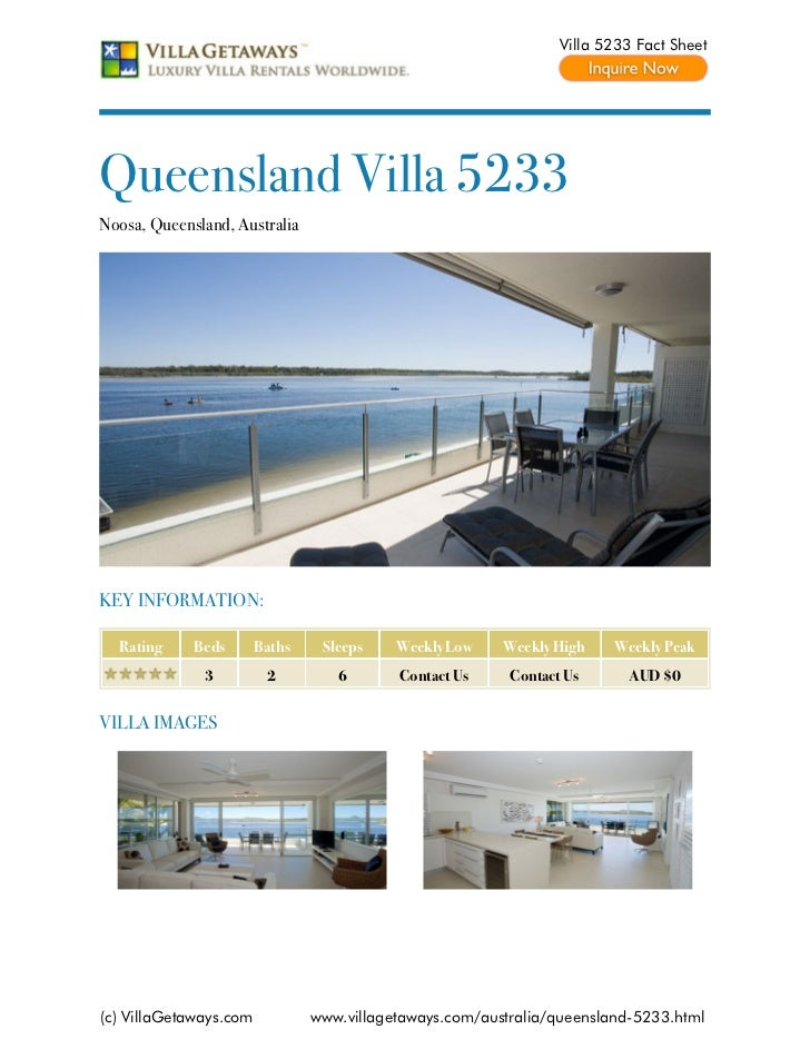 Villa 5233 Fact SheetQueensland Villa 5233Noosa, Queensland, AustraliaKEY INFORMATION:  Rating     Beds       Baths    Sle...
