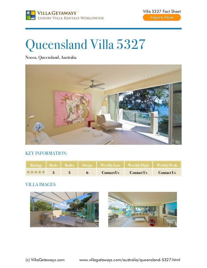 Villa 5327 Fact SheetQueensland Villa 5327Noosa, Queensland, AustraliaKEY INFORMATION:  Rating     Beds       Baths    Sle...