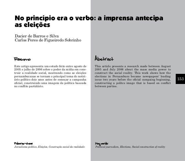 No princípio era o verbo: a imprensa antecipa as eleições Dacier de Barros e Silva Carlos Peres de Figueiredo Sobrinho  Re...