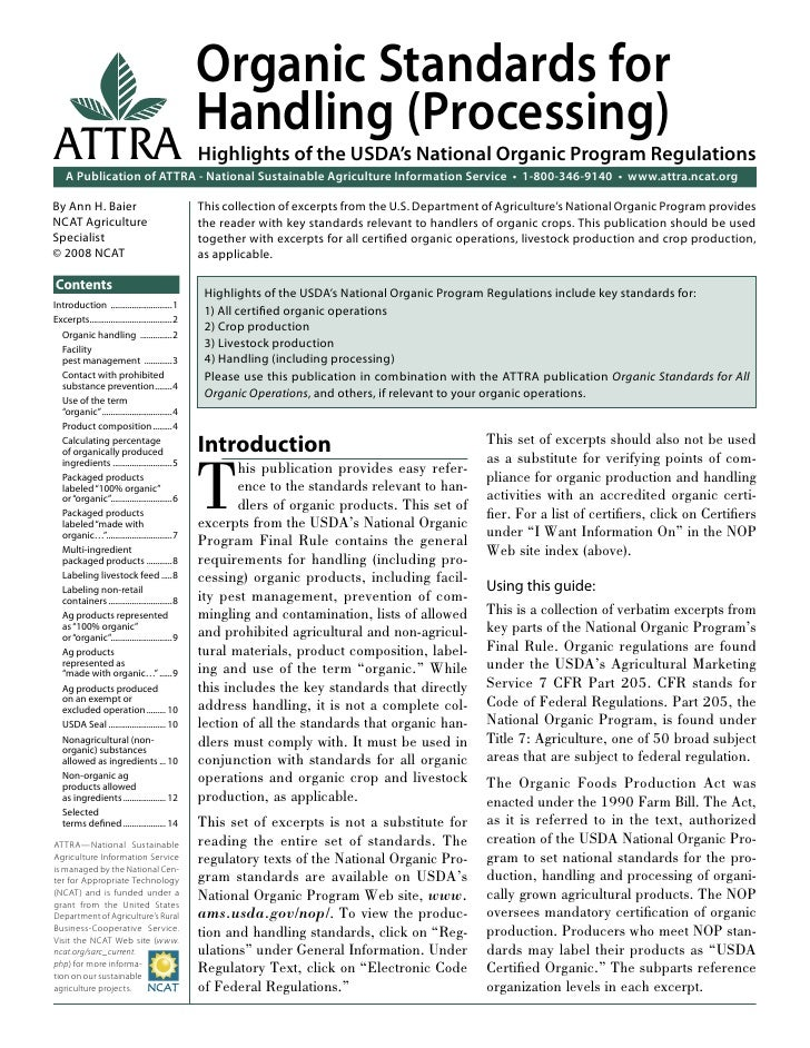 Organic Standards for                                                   Handling (Processing)ATTRA                        ...
