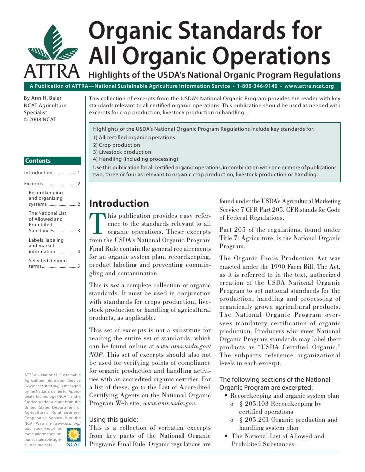 Organic Standards for                                             All Organic OperationsATTRA                             ...