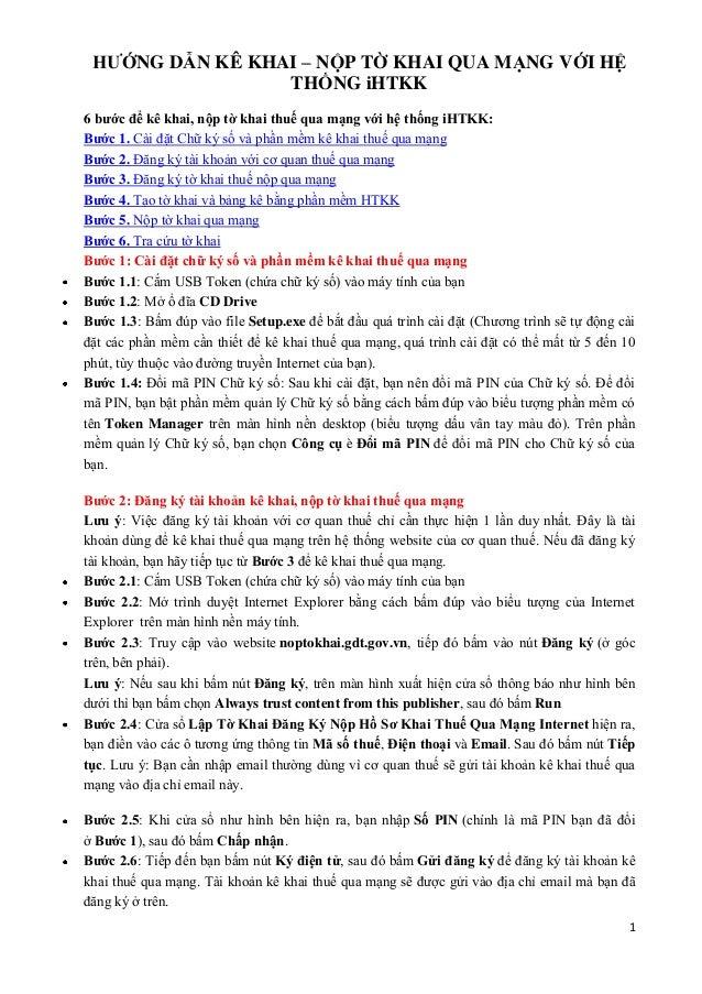 1 HƯỚNG DẪN KÊ KHAI – NỘP TỜ KHAI QUA MẠNG VỚI HỆ THỐNG iHTKK 6 bước để kê khai, nộp tờ khai thuế qua mạng với hệ thống iH...