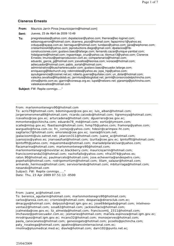 Page 1 of 7      Cisneros Ernesto   From:    Mauricio Jarrín Pinos [mauriciojarrin@hotmail.com]  Sent:    Jueves, 23 de Ab...