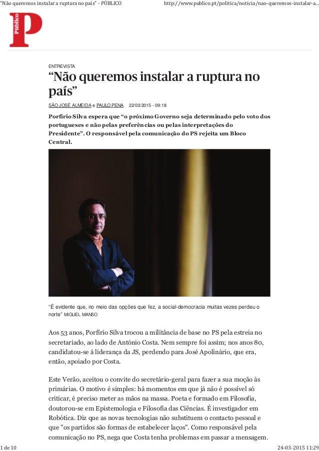 """ENTREVISTA SÃO JOSÉ ALMEIDA e PAULO PENA 22/03/2015 - 09:18 ! """" # $ % ! ! """" # $ % % & ' ( ) * + ) ' """", - $) # ' . & / 0' (..."""