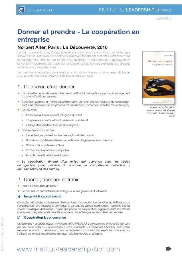www.institut-leadership-bpi.com Institut du Leadership BPI groupLu pour vous ©InstitutduLeadership-BPIgroup Donner et pren...