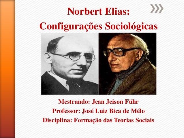 Norbert Elias: Configurações Sociológicas Mestrando: Jean Jeison Führ Professor: José Luiz Bica de Mélo Disciplina: Formaç...