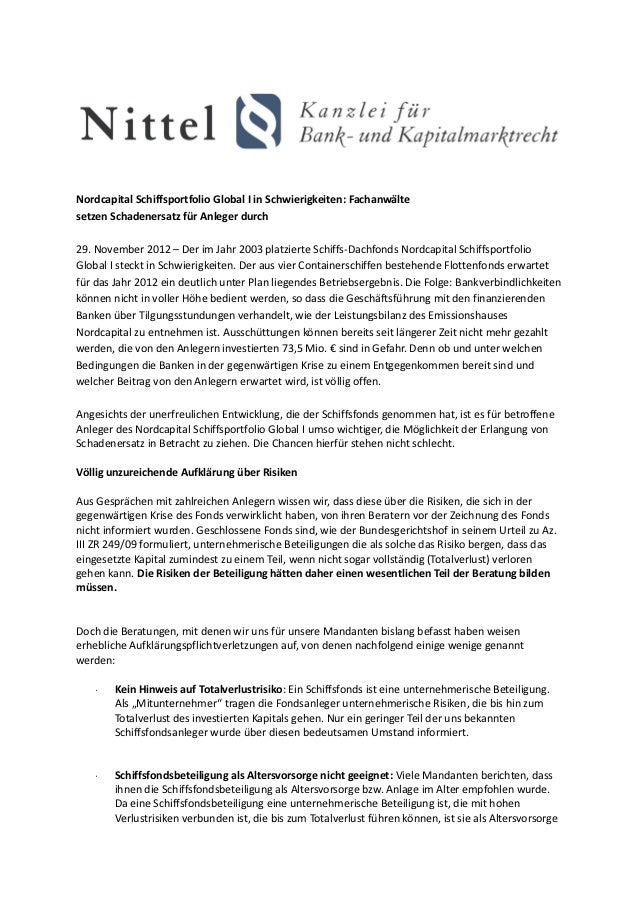 Nordcapital Schiffsportfolio Global I in Schwierigkeiten: Fachanwältesetzen Schadenersatz für Anleger durch29. November 20...