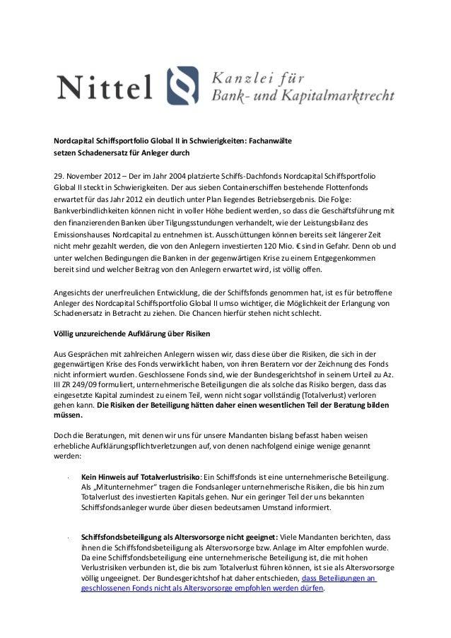 Nordcapital Schiffsportfolio Global II in Schwierigkeiten: Fachanwältesetzen Schadenersatz für Anleger durch29. November 2...