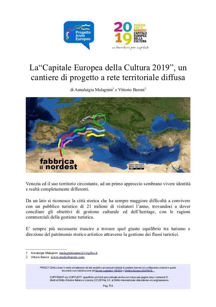 """La""""Capitale Europea della Cultura 2019"""", un  cantiere di progetto a rete territoriale diffusa                             ..."""