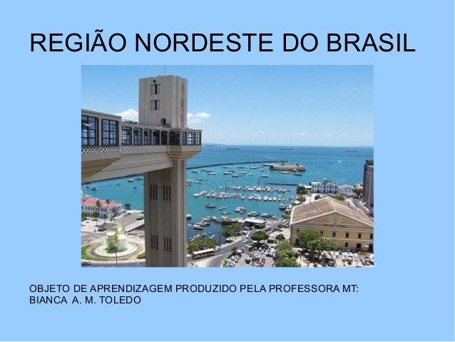 REGIÃO NORDESTE DO BRASIL OBJETO DE APRENDIZAGEM PRODUZIDO PELA PROFESSORA MT: BIANCA A. M. TOLEDO