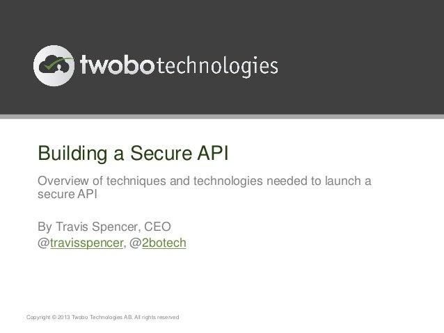 Nordic APIs - Building a Secure API